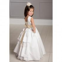 wedding photo - Satin Floor Length Jewel With Sash Ball Gown Flower Girl Dress - Compelling Wedding Dresses