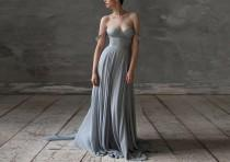 wedding photo - Grey Wedding dresses silk wedding dress boho wedding dress bridesmaid dress Bohemian dress wedding gown chiffon wedding dress