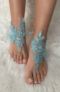 wedding photo -  FREE SHIP Blue lace barefoot sandals, beach wedding barefoot sandals, belly dance, lace shoes, wedding shoe, bridesmaid gift, beach shoes