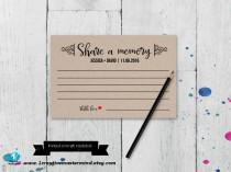 wedding photo - Share a Memory Printable Card, Wedding Advice Template, Bridal Shower, Couple Shower, Instant Download, Editable Template,Digital