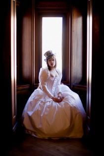 wedding photo - SAMPLE Alternative Bridal Gown  Victorian Steampunk Wedding Dress- Corset Jacket Fairytale- READY To Ship Size Small