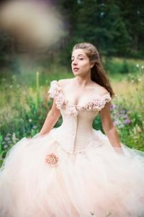wedding photo - Fantasy Wedding Gown Fairy Blossom- Blush Tulle Skirt Silk Flowers - Corset - Fairytale Masquerade Handmade Wedding Dress- Custom to Order