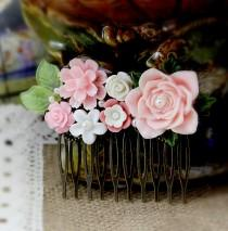 wedding photo - Art Deco Bridal Comb, Pink Rose Hair Comb, Resin Flower Hair Pin, Garden Wedding, Vintage Inspired Hair Comb, Cottage Chic, Woodland Style