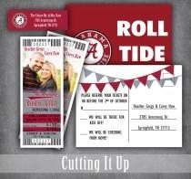 wedding photo - Football Wedding Invitation Set, Sports Wedding Invitations, Football Ticket Invitations, RSVPs, Alabama, Crimson Tide, Washington State