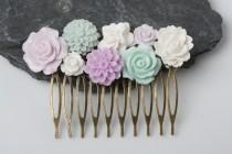 wedding photo - Mint and lavender Flower Hair comb, Mint wedding hair accessories, vintage style hair comb, bridal hair comb, wedding accessories
