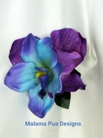 wedding photo - TROPICAL HAIR Clip, Hair accessory, Wedding Headpiece, flower clip, Bridal hair piece, silk flowers, Hair Flower, Wedding, Blue flower, comb
