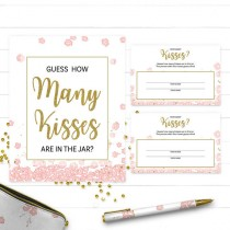 wedding photo -  Pink and Gold How Many Kisses Bridal Shower Printable Game-Golden Glitter Floral Bridal Shower Personalized Game-Guess How Many Kisses Game