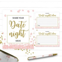 wedding photo -  Pink and Gold Date Night Ideas Cards And Sign-Printable Golden Glitter Floral Bridal Party Game-DIY Bridal Shower Date Jar Game Activity
