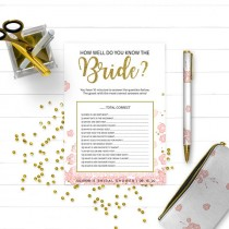 wedding photo -  Pink and Gold How Well Do You Know the Bride Bridal Shower Game-Golden Glitter Floral DIY Printable Who Knows Bride Best Bridal Shower Game