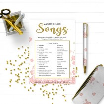 wedding photo - Pink and Gold Match the Movie Love Songs Bridal Shower Game-Golden Glitter Floral Personalized Love Song Game-Printable Bridal Shower Game