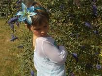 wedding photo - Blue Fairy Flower Headband Crown with Single Large Lily Blossom, Blue Flower Girl Crown, Fairy Headpiece, Bridal Garland