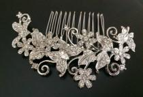 wedding photo - Butterfly bridal comb, wedding hair comb, wedding comb, bridal hair comb, wedding hair accessories, vintage comb, crystal comb, veil comb
