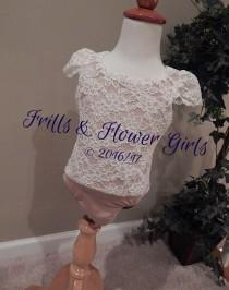 wedding photo - Ivory Lace Flower Girl Top with CAP Sleeves and Nude or IVORY lining - Ivory Lace Bodysuit Onesie Leotard Girls Sizes 12 Mo to Size 12