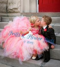 wedding photo - Coral Tutu Dress with Coral Tulle Skirt with Ivory Lace over Coral Satin Halter Flower Girl Dress Sizes 2, 3, 4, 5, 6 up to Girls Size 12