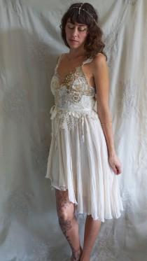 wedding photo - Wood Nymph Dress... wedding whimsical short gown fairy woodland unique fantasy eco friendly