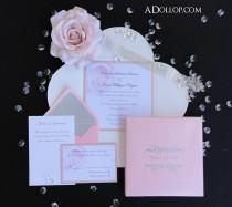 wedding photo - Unique Romantic Light Pink & Silver Sparkling Rose Boxed Wedding Invitation - Vintage  Silver  White  Sparkle  Bling