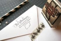 "wedding photo - Custom state stamp (any state). Rubber return address stamp. Perfect for weddings or as a housewarming gift. 2"" x 1.5"" with a wooden handle."