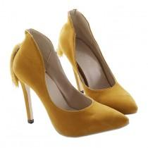 wedding photo - Back Heel Tassel Pointed Thin High Heel Low-cut Wedding Shoes Yellow 35