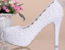 wedding photo - Women Fashion White Flowers Lace Platform High Heels Pearls Wedding Shoes