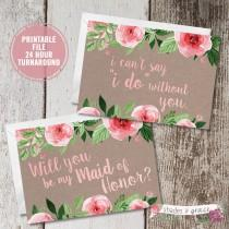 wedding photo - Will You Be My Bridesmaid Card Printable, Bridesmaid Invitation, Bridesmaid Proposal, Maid of Honor Proposal, Rustic Wedding Stationery
