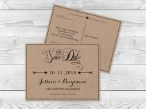wedding photo - Kraft Paper Save the Date Postcard Templates - Rustic Calligraphy Handlettered Typography Editable Printable PDF Template - DIY You Print