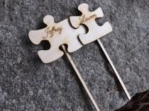wedding photo - Set of 2 Puzzle Piece Shaped Rustic Wood Cake Toppers, Wedding Favors, Event Favors, Rustic Wedding, French Rustic Style
