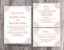 wedding photo - DIY Wedding Invitation Template Set Editable Word File Instant Download Printable Invitation Wine Red Wedding Invitation Elegant Invitation