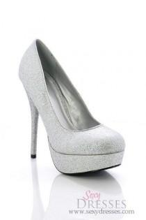"wedding photo - ""Seduction"" 5"" Silver Glitter High Heel Platform Pumps"