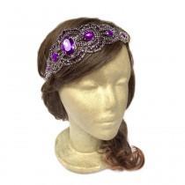 wedding photo - Gatsby Headpiece Plum Purple Flapper Dance Costume Bridal Fascinator Art Deco Headpiece Roaring 20s Headband Wedding Hair Piece Headband
