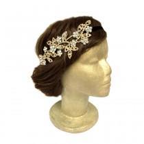 wedding photo - Gold Flower Rhinestone Headband Art Deco Headpiece Rhinestone Flower Headpiece Boho Headband Flapper Headpiece Vintage Wedding Hair Circlet