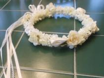 wedding photo - ON SALE Calla Lily PEARL bead flower girl first communion headpiece crown halo hair wreath white ivory orange coral pink red blue navy aqua