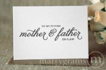 wedding photo - Wedding Card to Your Future Mother and Father in-Law - To My Future In-Laws - Parents of the Bride or Groom Cards CS05