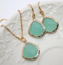 wedding photo - Mint Drop Jewelry Set in Gold, Bridesmaids favors, Mint Opal Gold bezel set Pear shape Necklace and Earrings -Bridal Wedding Jewelry