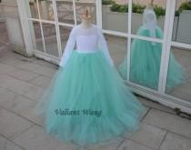 wedding photo - Long Sleeves White Lace Mint Green Tulle Flower Girl Dress Wedding Baby Girls Dress Rustic Baby Birthday Dress Floor/Knee Length