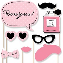 wedding photo - Beter Gifts® Paris, Ooh La La - Photo Booth Props Kit - 20 Count: Toys & Games