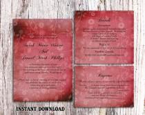 wedding photo - DIY Rustic Wedding Invitation Template Set Editable Word File Download Printable Invitation Wine Red Invitation Vintage Floral Invitation