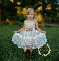 wedding photo - Girls dress, lace flower girl dress, girls dress, girls lace dress, easter dress, brown lace dress, rustic flower girl dress, birthday dress