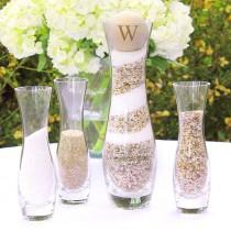 wedding photo - Rustic Personalized Glass Wedding Sand Ceremony Set