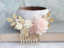 wedding photo - Bridal Hair Comb Blush Wedding Gold Ivory Cream Nudes Natural Tones Vintage Style Bridesmaid Gift Floral Hair Piece Gold Leaf Branch