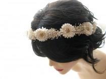 wedding photo - bridal hair accessories, flower head wreath, wedding hair accessory, vintage flower head piece, natural hair circlet, hair wreath