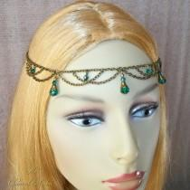wedding photo - Renaissance Circlet, Bronze Head Chain, Reanaissance Head Chain, Medieval Headdress, Hair Chain, Boho Princess, Fairy, Pagan, Larp Cosplay