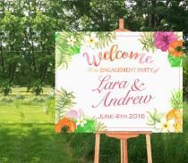 wedding photo - Welcome Sign Poster - Bridal Shower-Wedding- Hawaii- Luau-Tropical Theme- Horizontal-Watercolor Printable- Personalized-YOU PRINT
