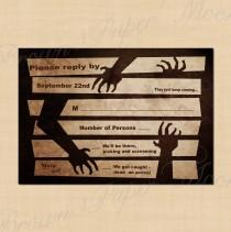 wedding photo - Night of the Living Dead Antique Halloween Wedding Printable RSVP - 5 x 3.5