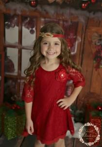 wedding photo - Red flower girl dress, Red lace Dress, Girls Christmas dress, Christmas dress, Red lace dress, rustic flower girl dress, flower girl dress.
