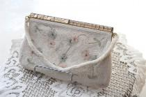 wedding photo - Vintage 50s Evening Bag - Beaded Evening Purse - Bridal - Wedding - Made in Japan - Glass Bead Handbag - Crystal Purse