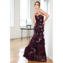wedding photo - Terani Couture 11189E - Burgundy Evening Dresses