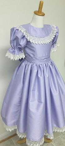 wedding photo - Princess Flower Girl Dress with Ruffles, Collar, and Puffy Sleeves, Girls Victorian Style Dress. Weddings, Birthday. Party. Ballet.