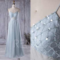 wedding photo - 2016 Baby Blue Bridesmaid Dress, Backless Long Chiffon Wedding Dress with Sequin Beading, Spaghetti Straps Prom Dress Floor Length (L046)