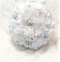 wedding photo - Pearl and rhinestone bouquet, White brooch bouquet, White fabric bouquet, Satin ribbon bouquet, Brooch bouquet, White wedding bouquet