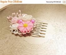 wedding photo - Handmade wedding hair comb clip resin flowers roses vintage pink white wedding prom accessory hair piece bride